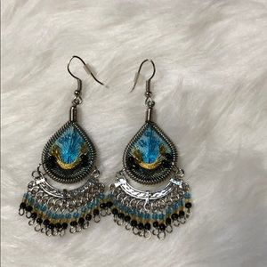 Artisan hand crafted peacock beaded earrings